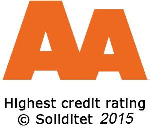 Our company has an AA rating, which signifies high creditworthiness according to the Soliditet evaluation system, which is based on approximately 2,400 decision parameters. This information is completely up to date and is refreshed daily via the Soliditet database.
